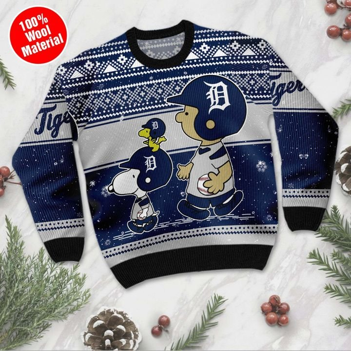 Snoopy Charlie Brown Detroit Tigers ugly Christmas sweater 2