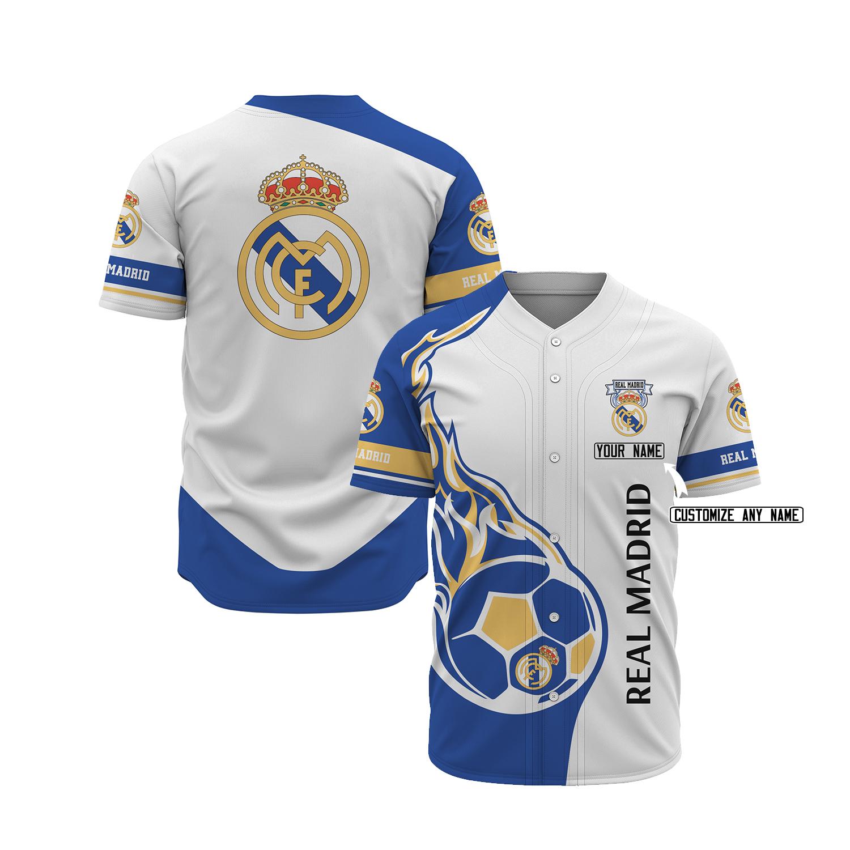 Real Madrid custom name baseball jersey 1