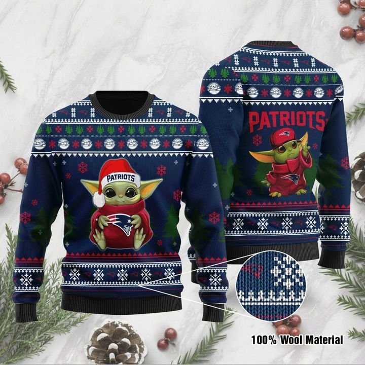 Baby Yoda love New England Patriots ugly sweater 1