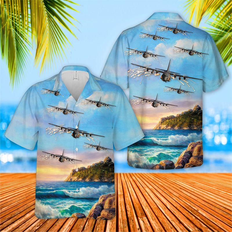USAF Lockheed AC 130U 4th Special Operations Squadron Hawaiian Shirt 1