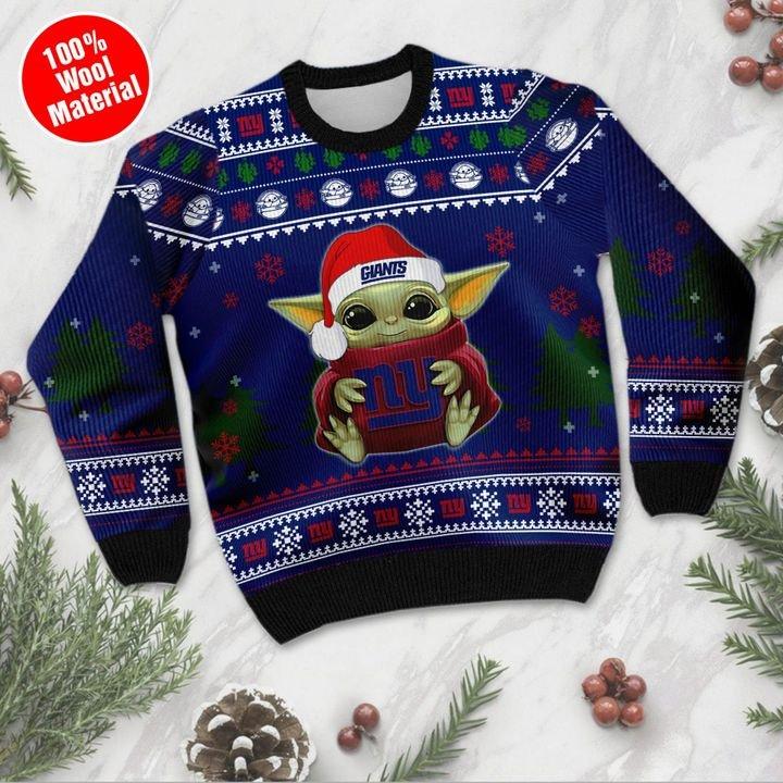 Baby Yoda love New York Giants ugly sweater 2