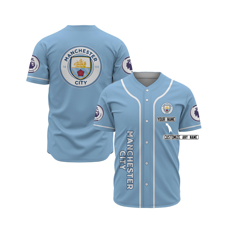 Manchester City custom name baseball jersey 1