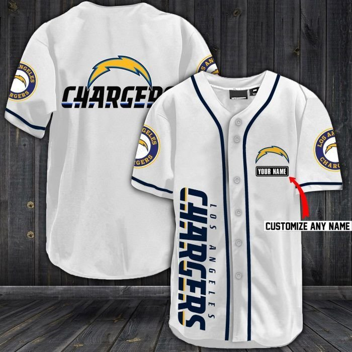Nfl los angeles chargers baseball jersey shirt