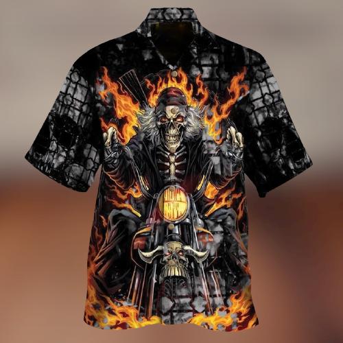 17 Biker Skull Hawaiian Shirt 1