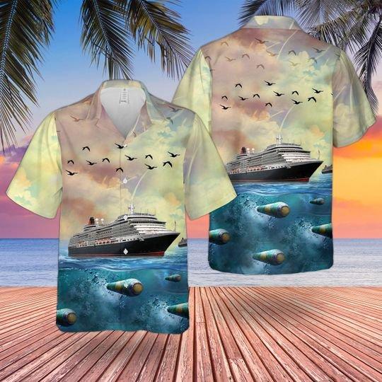 Cunard line ms queen victoria hawaiian shirt 1