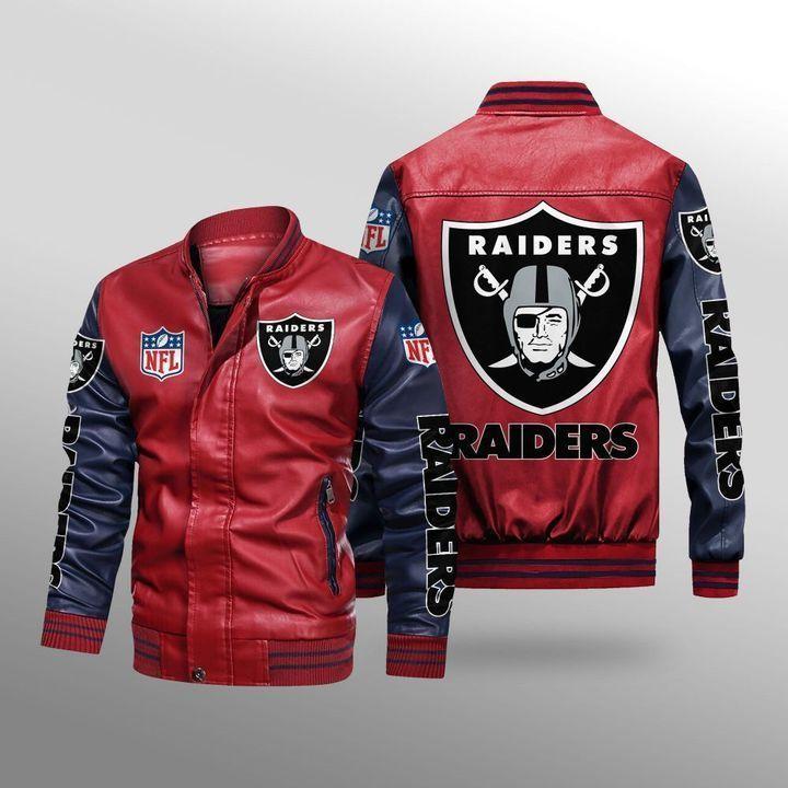 Las Vegas Raiders Leather Bomber Jacket 2
