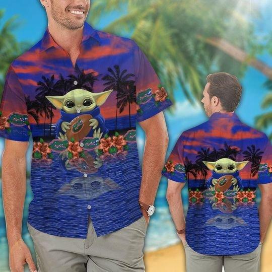 17 Florida Gators And Baby Yoda Hawaiian Shirt Short 1