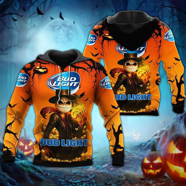 Halloween Jack Skellington Bud Light Logo 3D Hoodie Shirt