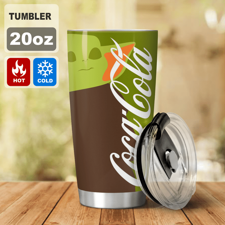 22 Baby Yoda Coca Cola I dont care what day it is Its early Im Grumpy I want coke Tumbler 2