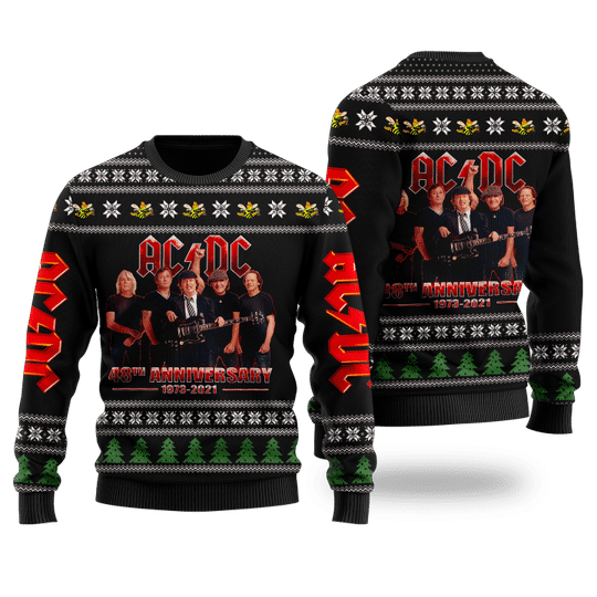 27 ACDC 48th anniversary ugly Christmas sweater 1