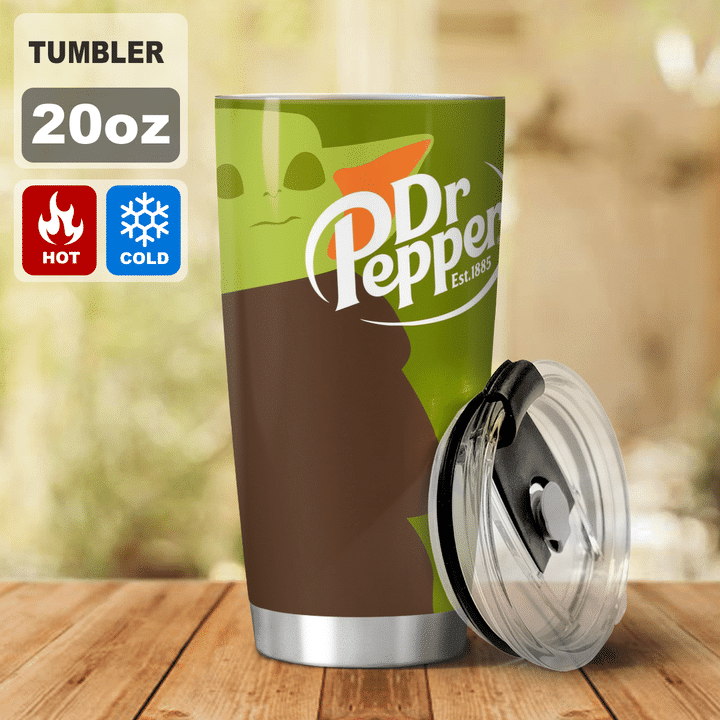 27 Baby Yoda Dr Pepper I dont care what day it is Its early Im Grumpy I want coke Tumbler 2