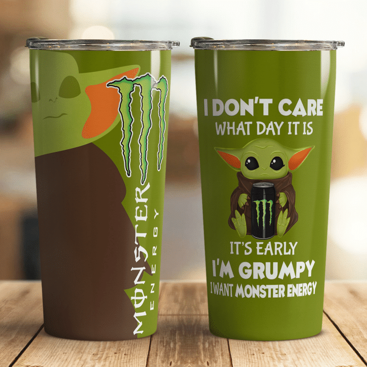 29 Baby Yoda Monster Energy I dont care what day it is Its early Im Grumpy I want coke Tumbler 1