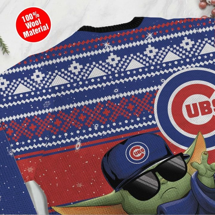 Chicago Cubs Baby Yoda Ugly Christmas Sweater 4
