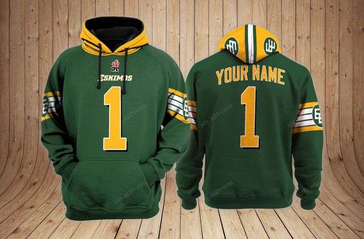 Edmonton eskimos custom name 3d hoodie