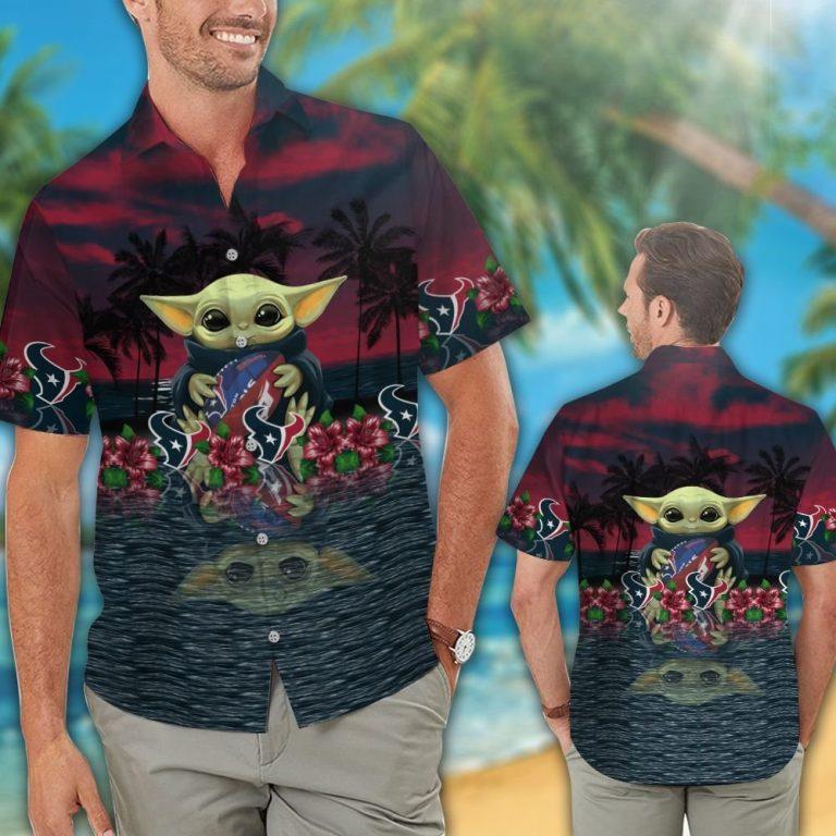 19 Houston Texans And Baby Yoda Hawaiian Shirt Short 1