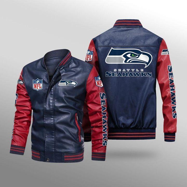 Seattle Seahawks Leather Bomber Jacket 4