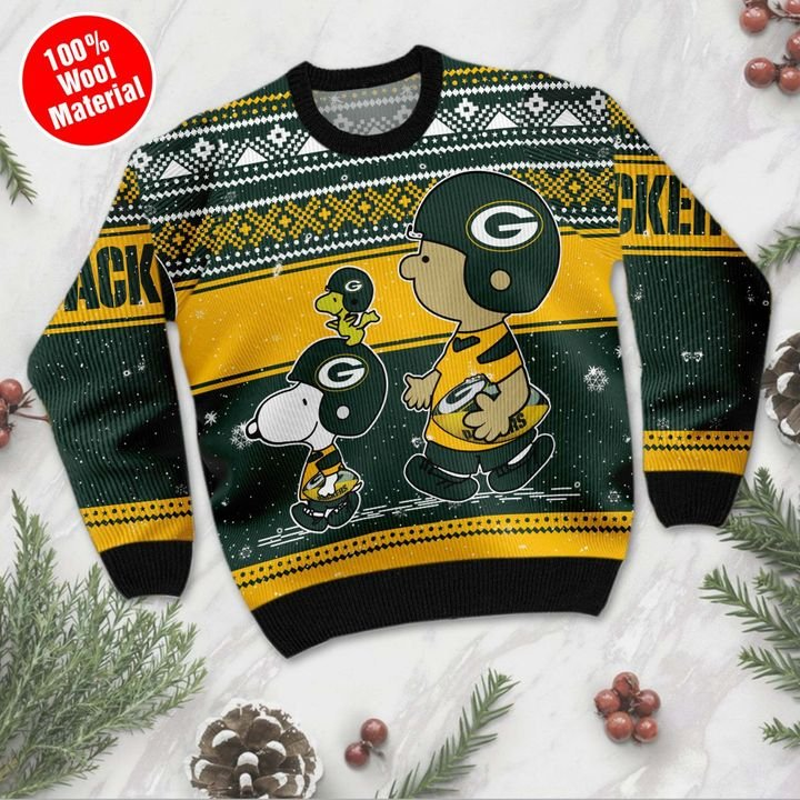 Snoopy and Charlie Brown Green Bay Packers Ugly Christmas Sweater 2