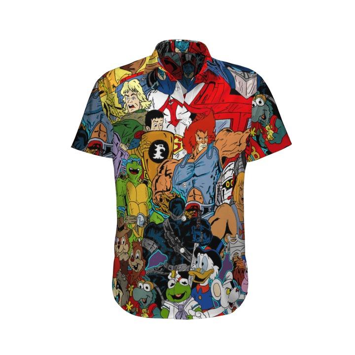 80s cartoon characters hawaiian shirt 1