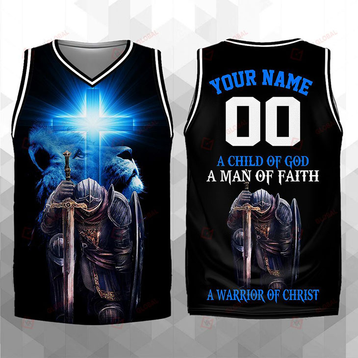A Child Of God A Man Of Faith A Warrior Of Christ Custom Name And Number Basketball Jersey Shirt