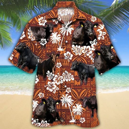 Aberdeen Angus cattle red tribal hawaiian shirt 1