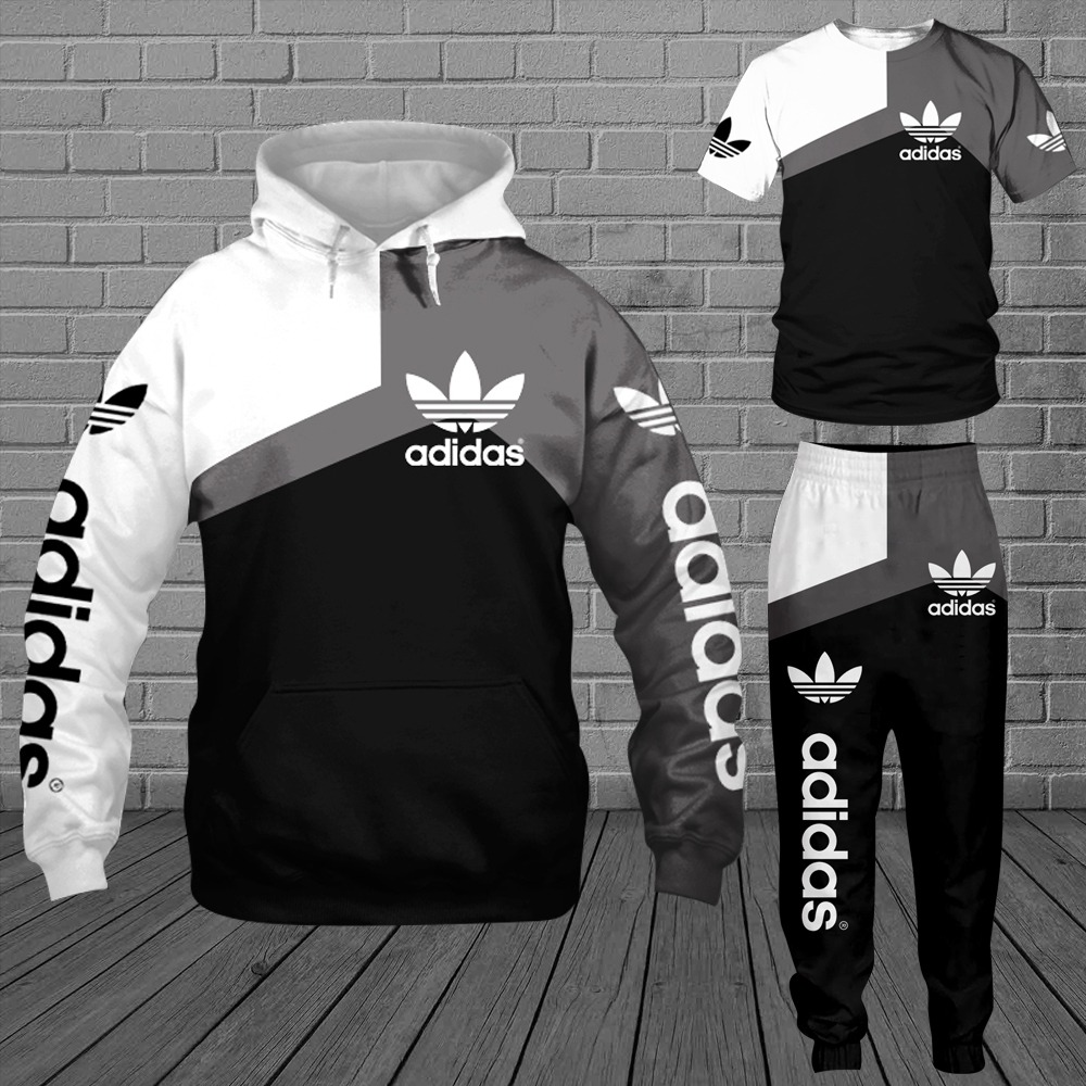 Adidas 3d all over print hoodie T shirt and sweatpants 1