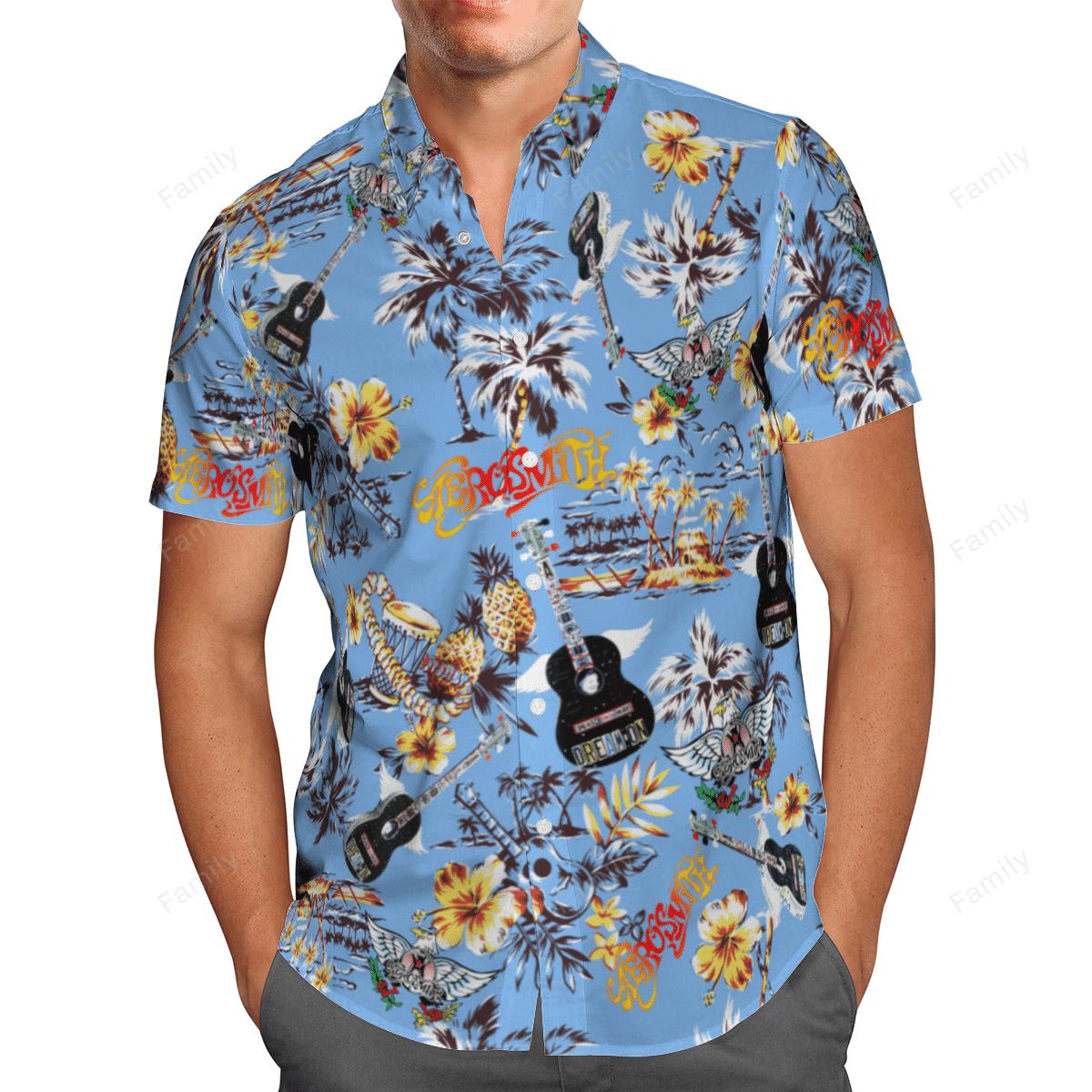 Aerosmith band blue Hawaiian shirt 1