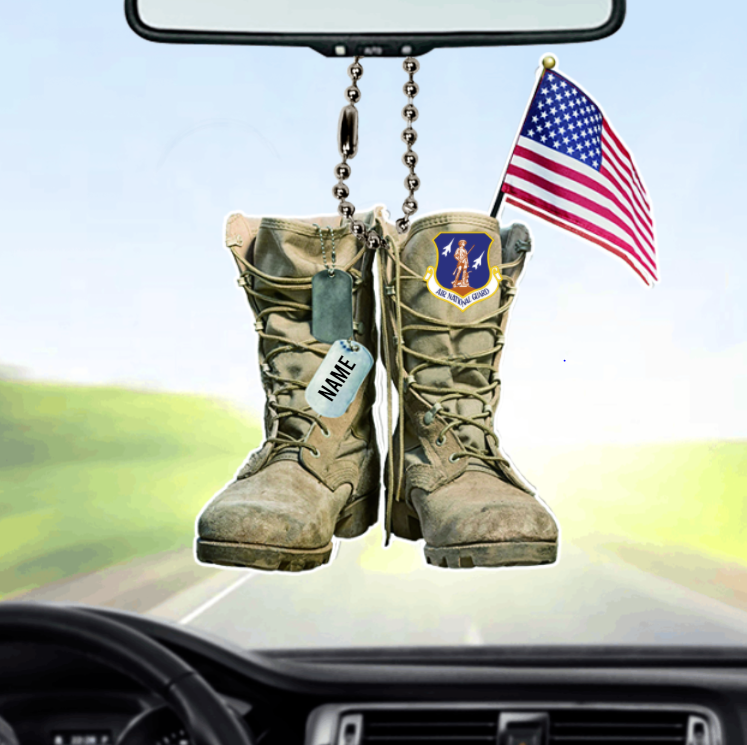 Air National Guard Military Boots Personalized Car Ornament