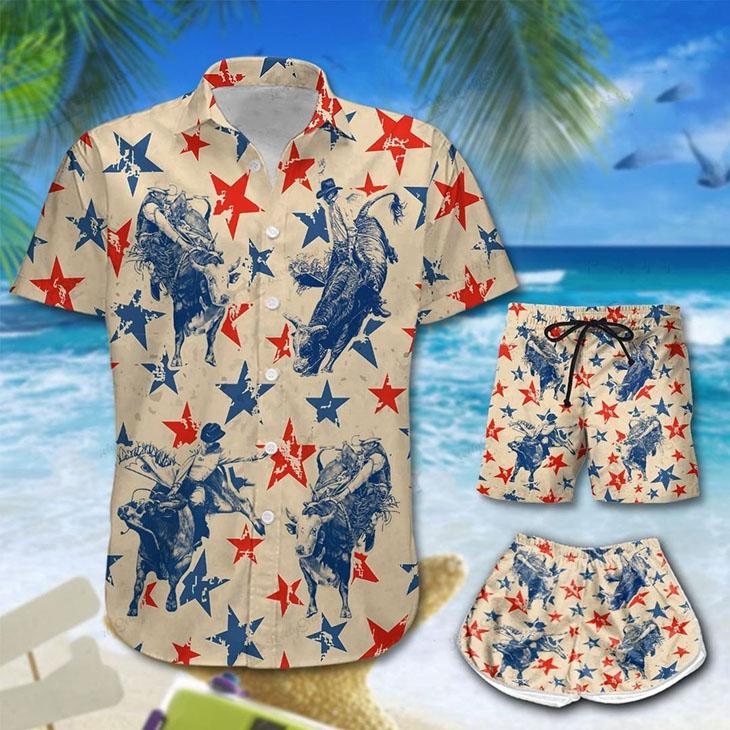 America Bull Riding Hawaiian Shirt Short