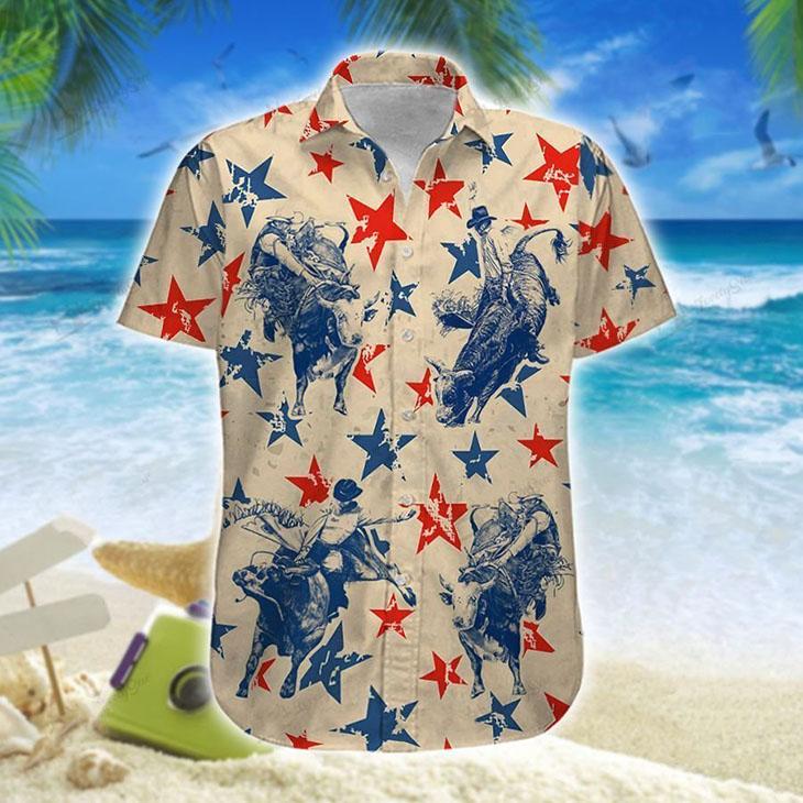 America Bull Riding Hawaiian Shirt Short1