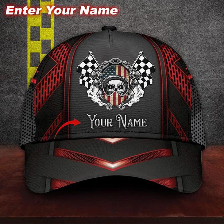 America Flag Skull Racing Custom Name Cap6