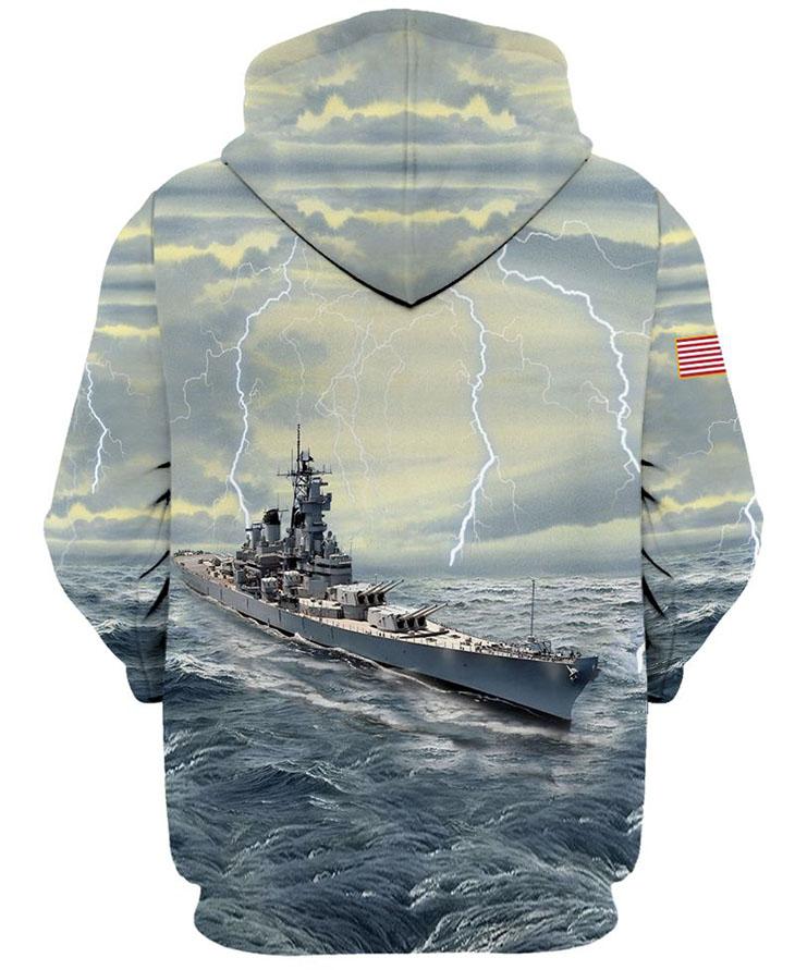 America Flag U S Navy Veteran Battleship 3D HoodieShirt1