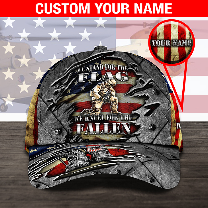 America Flag We Stand For The Flag We Kneel For The Fallen Custom Name Cap