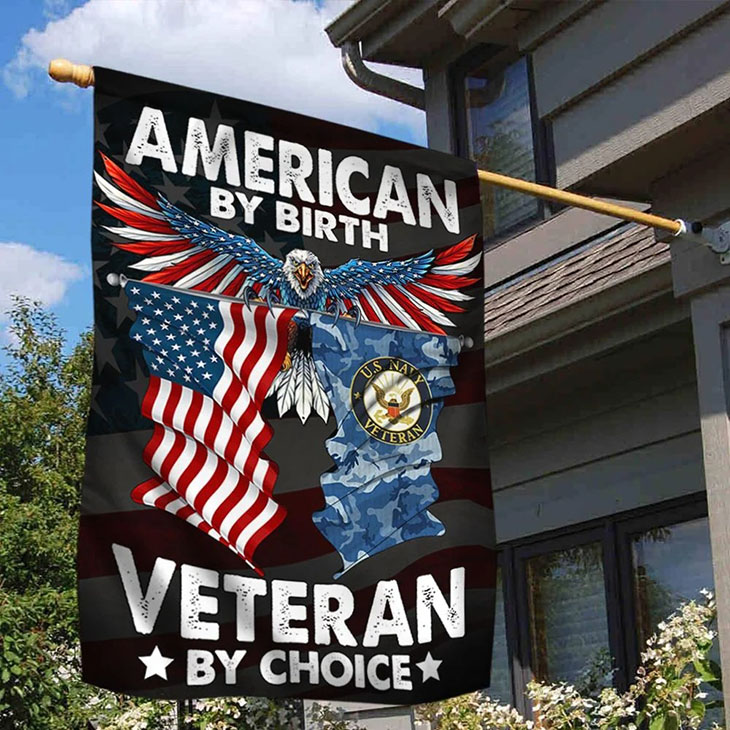 American Eagle Flag By Birth Veteran By Choice Flag1