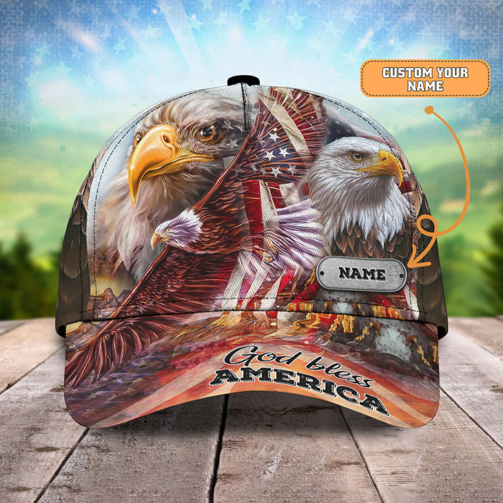 American Eagle Flag God Bless America Custom Name Cap