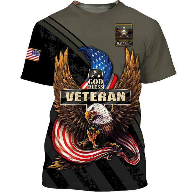American Eagle Flag God Bless Army Veteran 3D Hoodie And Shirt4