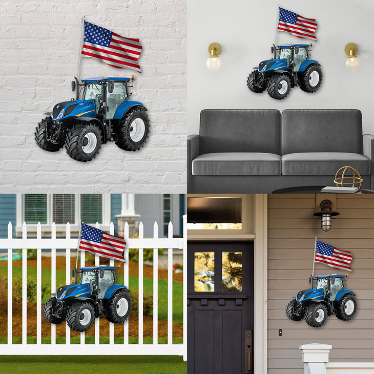American Flag Blue Tractor Metal Sign