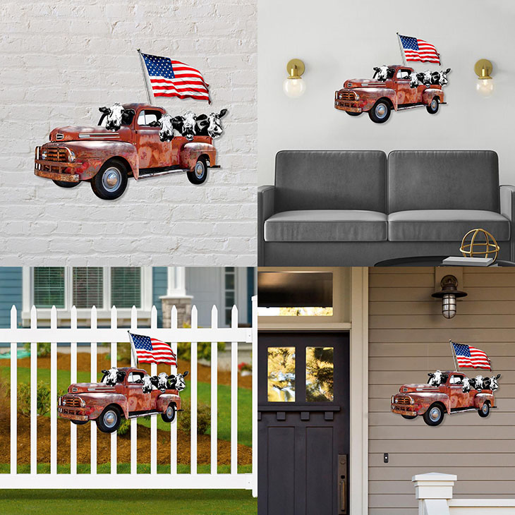 American Flag Cow Pickup Truck Shaped Metal Sign