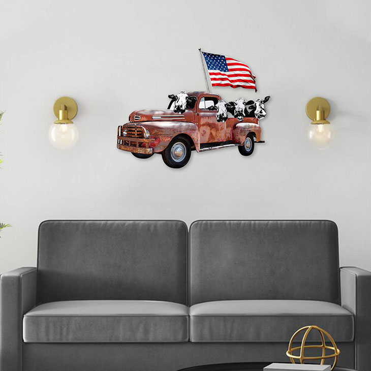 American Flag Cow Pickup Truck Shaped Metal Sign1