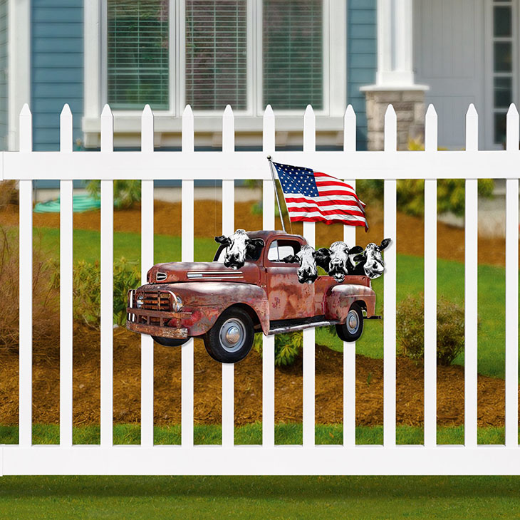 American Flag Cow Pickup Truck Shaped Metal Sign2