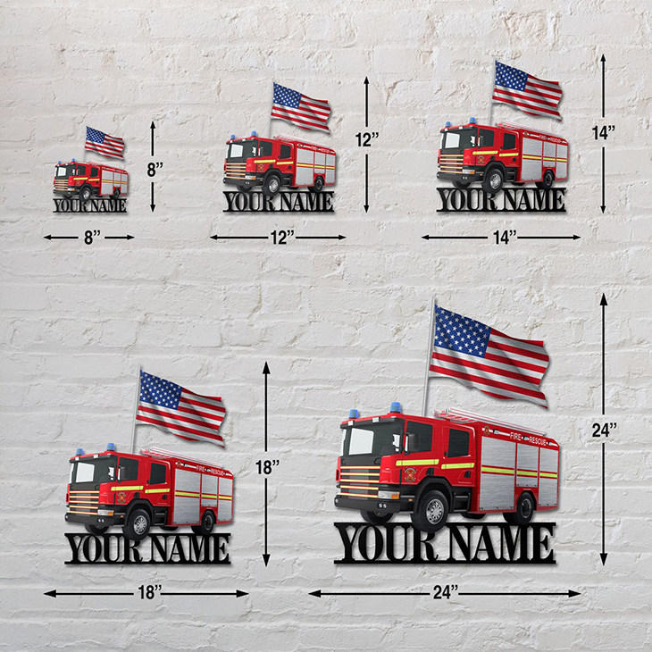 American Flag Firefighter Personalized Custom Name Metal Sign