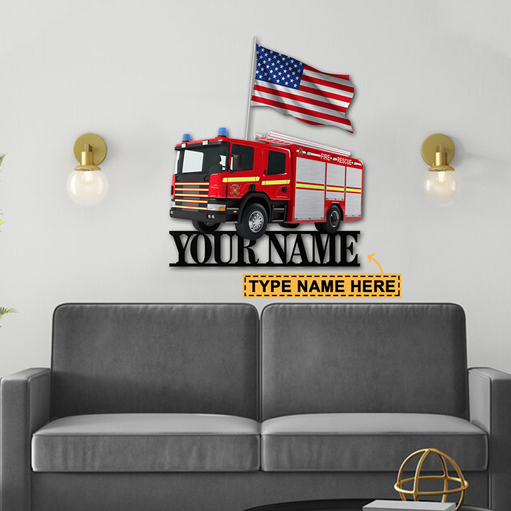 American Flag Firefighter Personalized Custom Name Metal Sign2