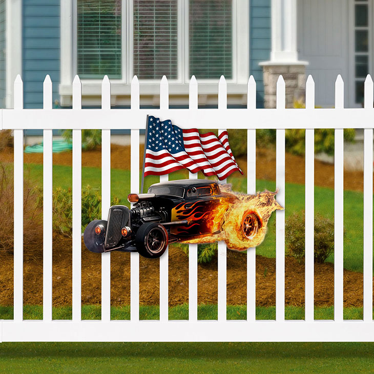 American Flag Flame Hot Rods Shaped Metal Sign