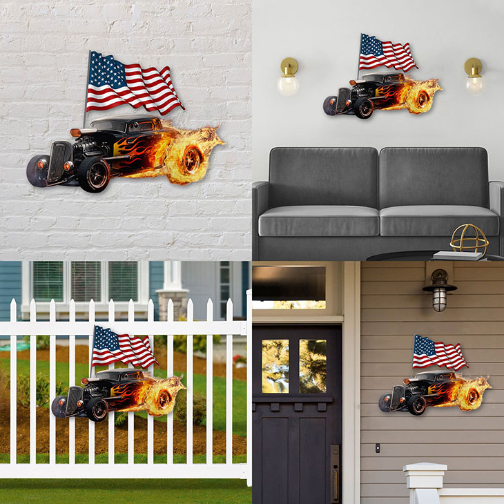 American Flag Flame Hot Rods Shaped Metal Sign1