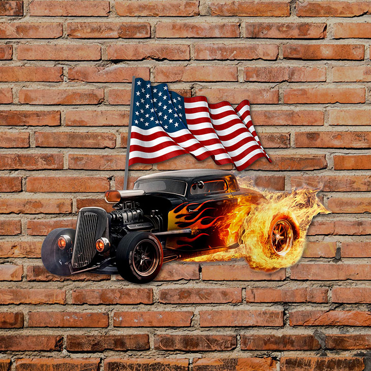 American Flag Flame Hot Rods Shaped Metal Sign2