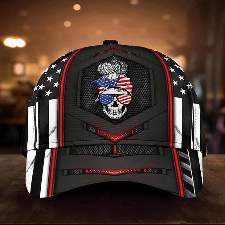 American Flag Girl Skull Cap4