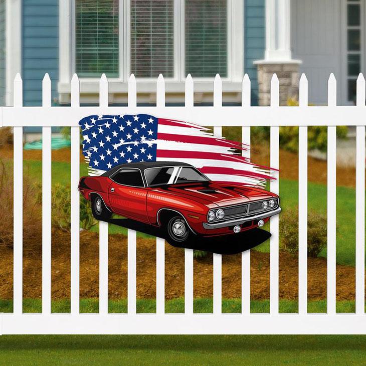 American Flag Muscle Car Metal Sign