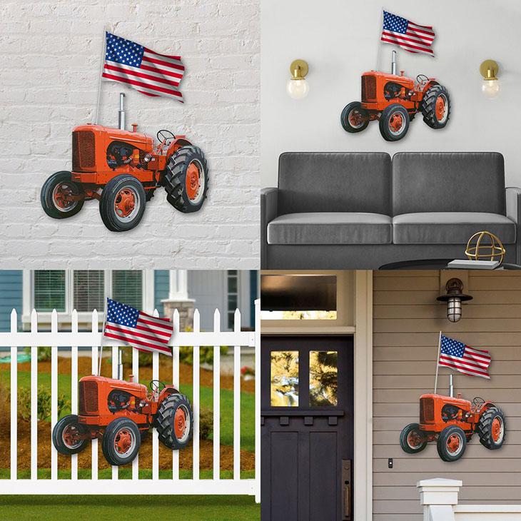 American Flag Orange Tractor Shaped Metal Sign
