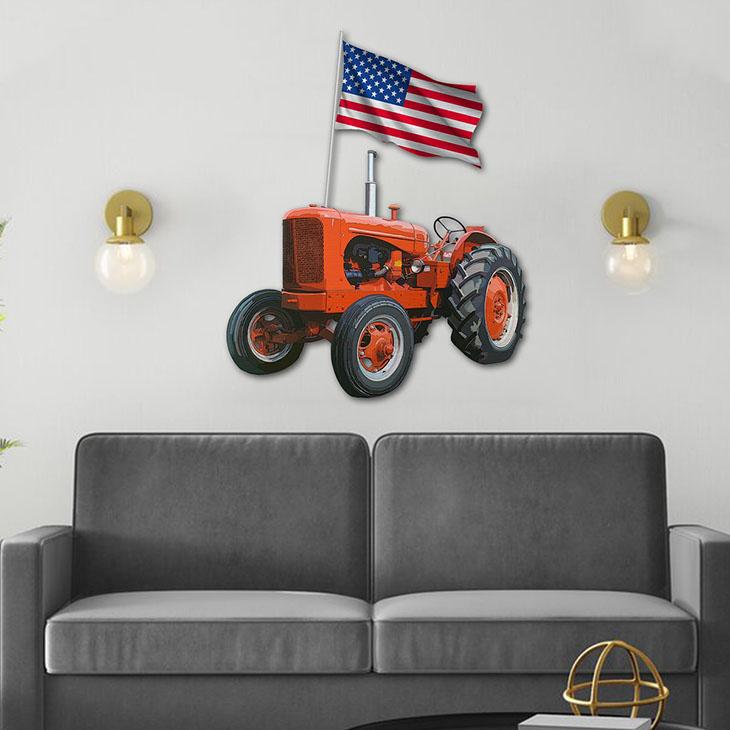 American Flag Orange Tractor Shaped Metal Sign1