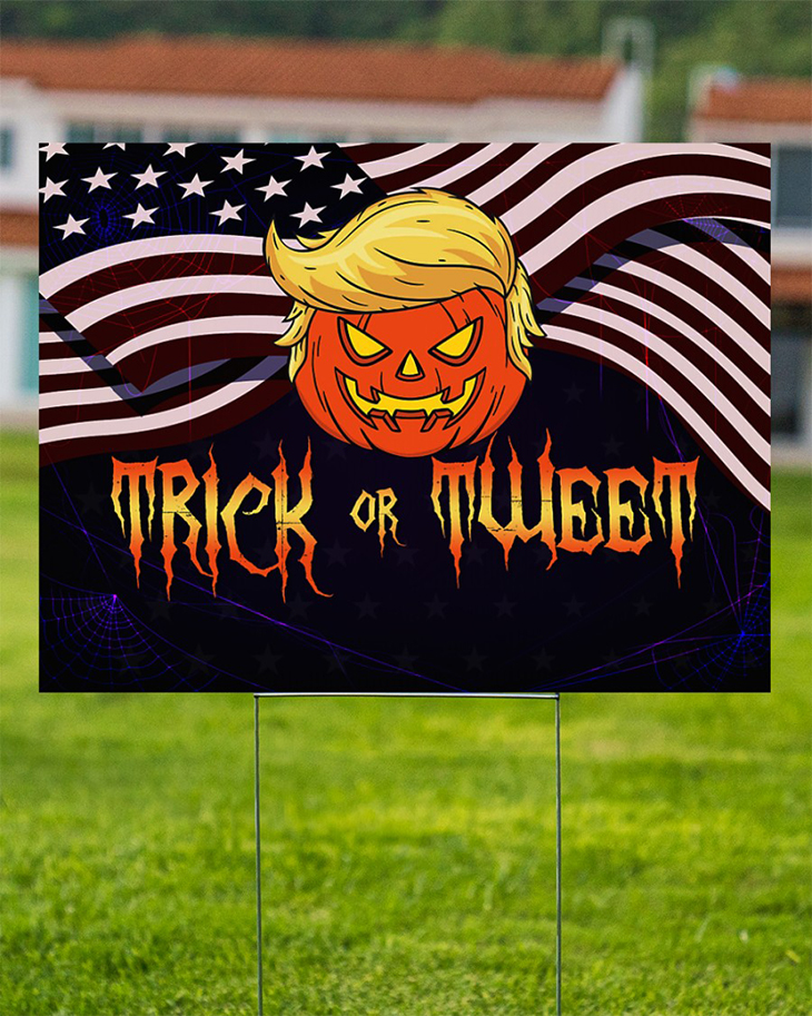American Flag Pumpkin Trump Trick Of Tweet Yard Sign1