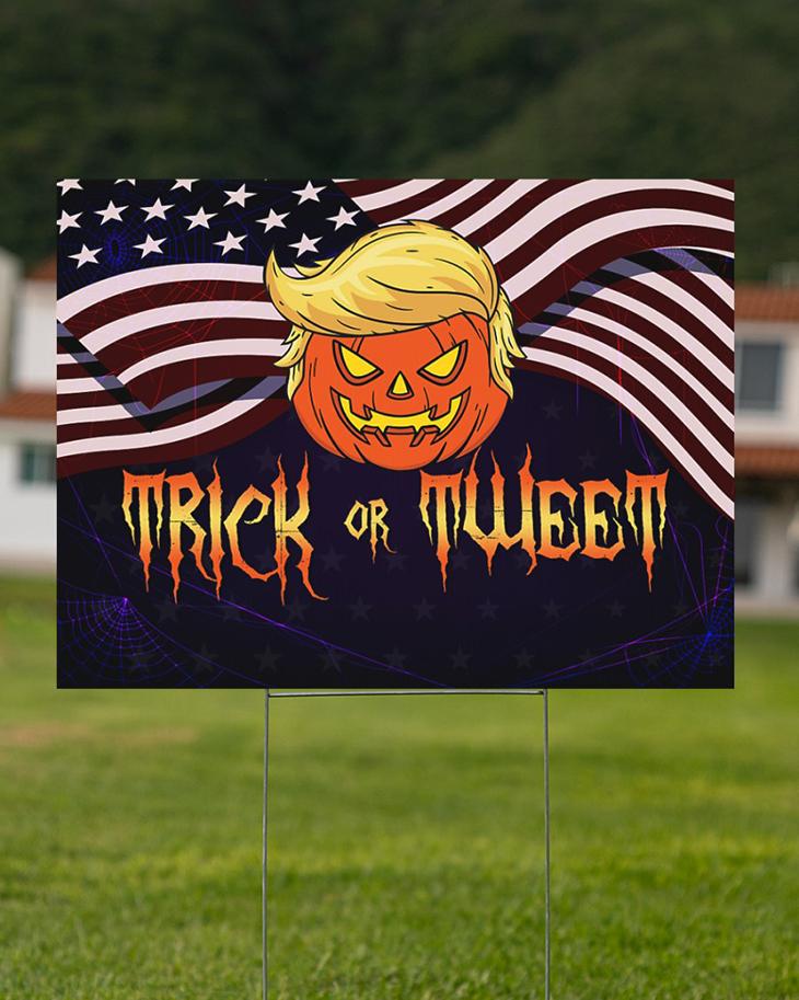 American Flag Pumpkin Trump Trick Of Tweet Yard Sign3